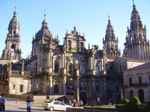 achteraanzicht kathedraal van Santiago de Compostela