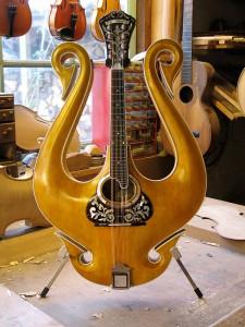 lyra-mandoline frontaanzicht met een handgestoken bovenblad
